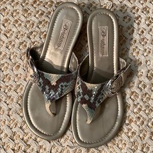 Brighton Lark snakeskin wedge sandals